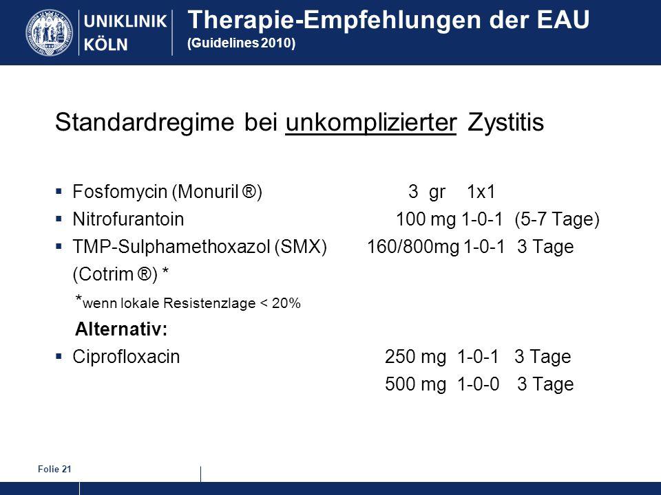 Therapie-Empfehlungen der EAU (Guidelines 2010)