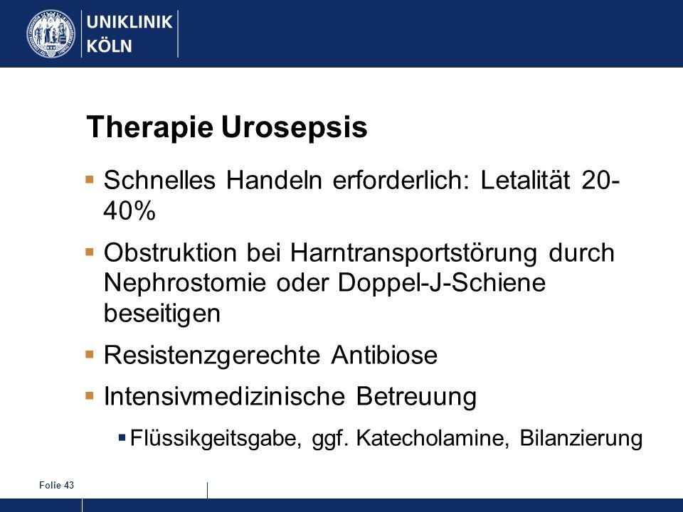 Therapie Urosepsis Schnelles Handeln erforderlich: Letalität 20- 40%