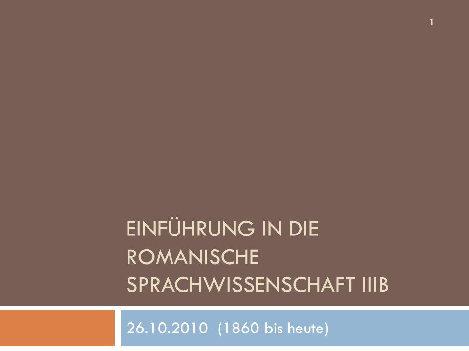 Einführung in die romanische Sprachwissenschaft IIIB