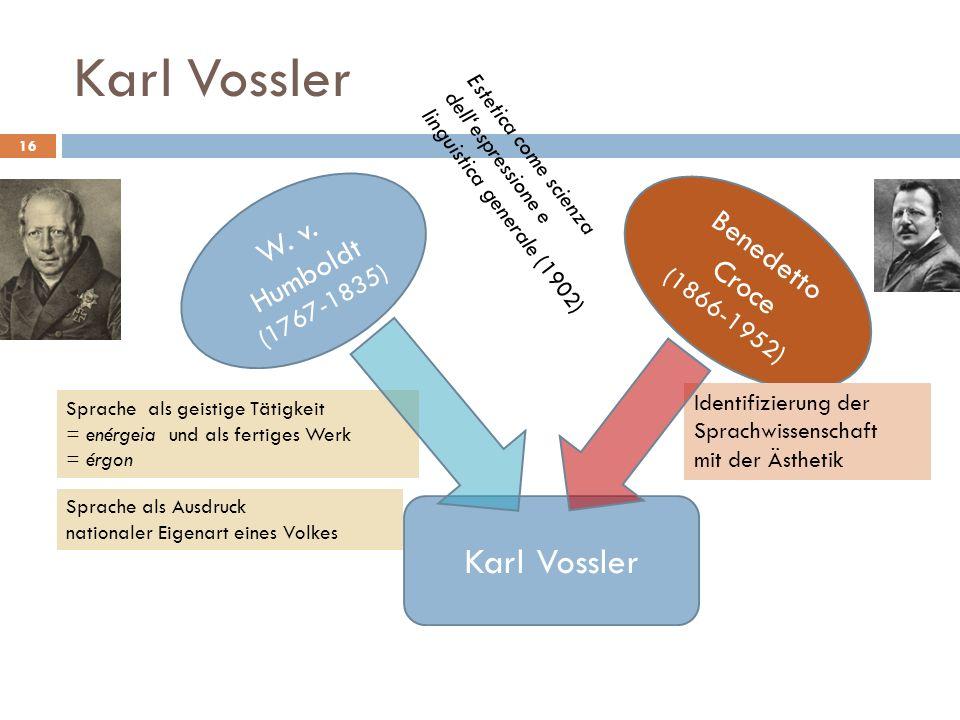 Karl Vossler Karl Vossler W. v. Humboldt Benedetto Croce (1767-1835)