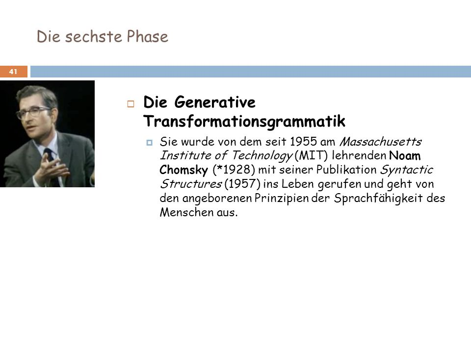 Die Generative Transformationsgrammatik