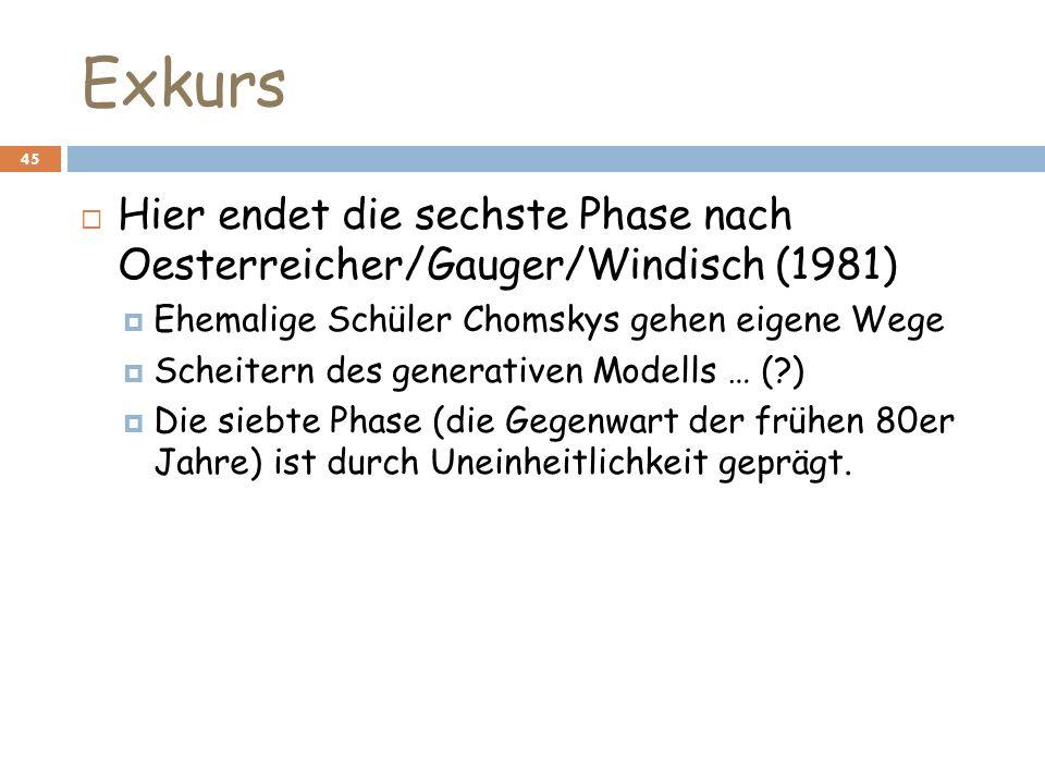 Exkurs Hier endet die sechste Phase nach Oesterreicher/Gauger/Windisch (1981) Ehemalige Schüler Chomskys gehen eigene Wege.