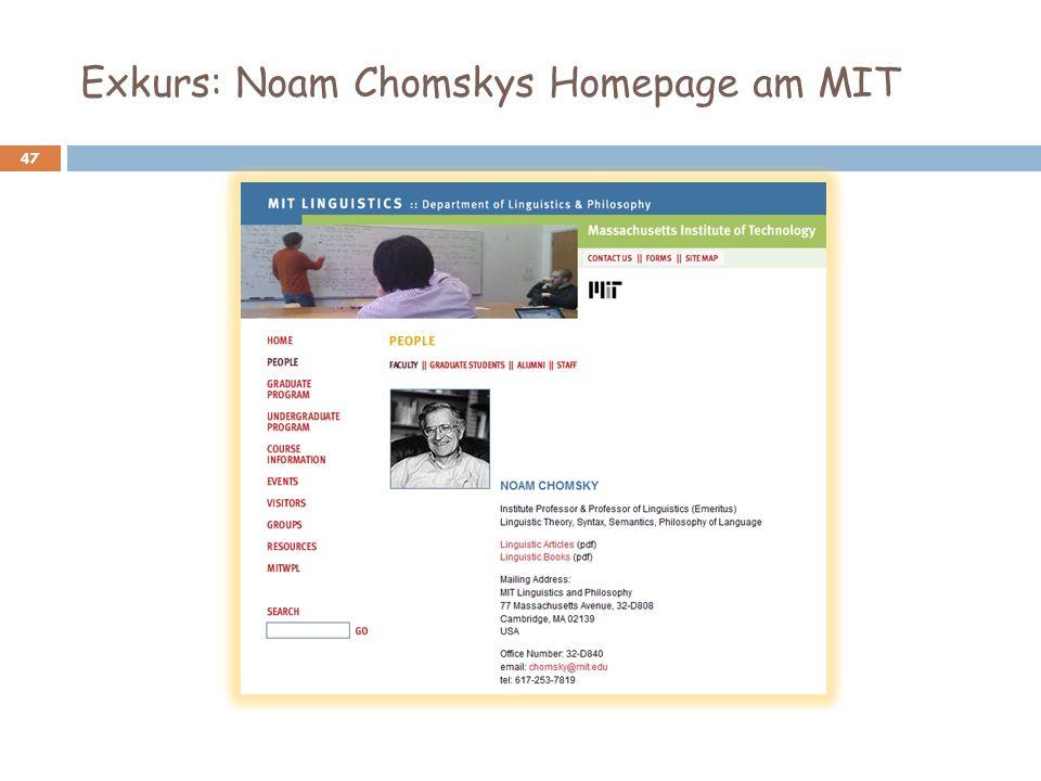 Exkurs: Noam Chomskys Homepage am MIT
