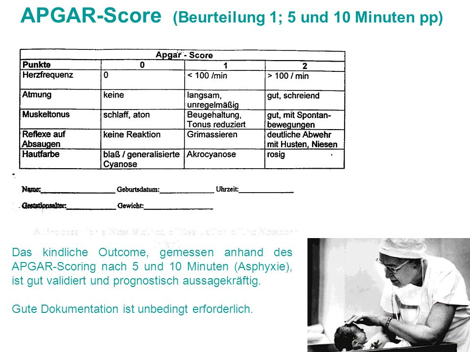 APGAR-Score (Beurteilung 1; 5 und 10 Minuten pp)
