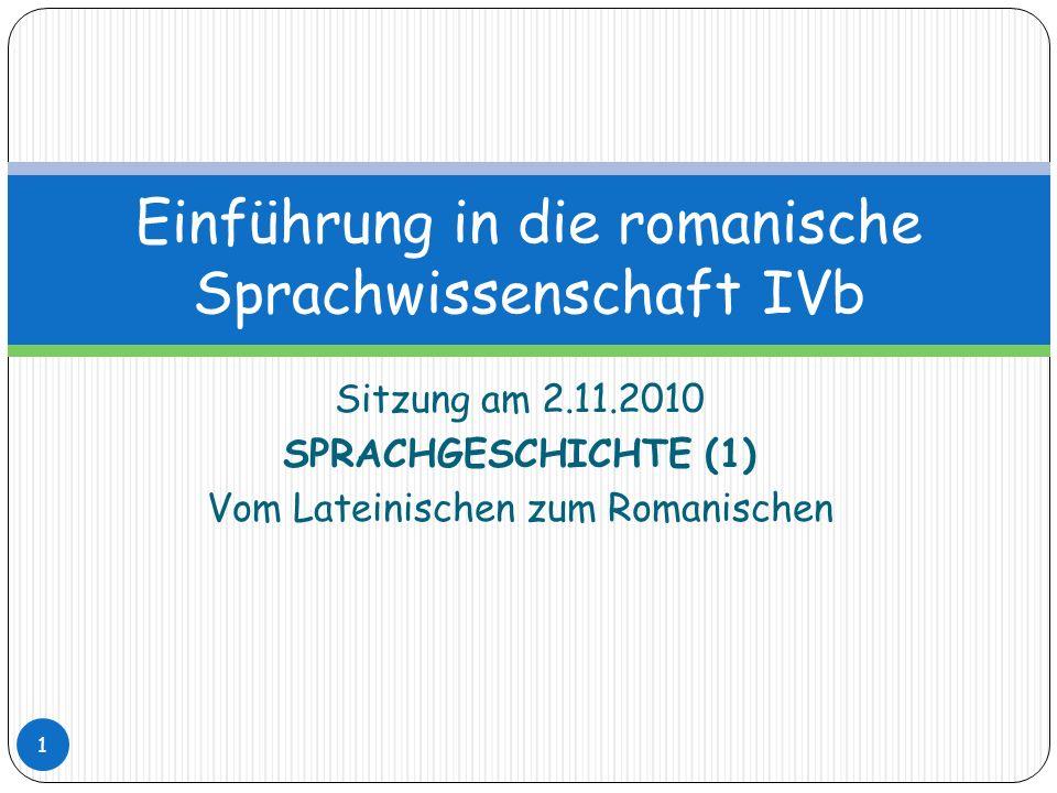 Einführung in die romanische Sprachwissenschaft IVb