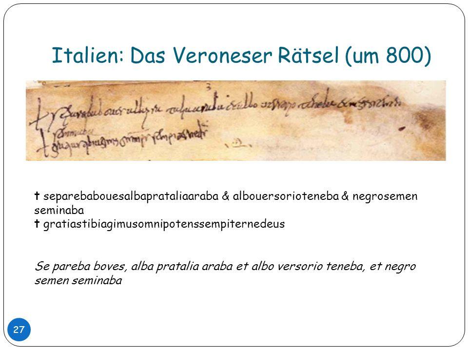 Italien: Das Veroneser Rätsel (um 800)