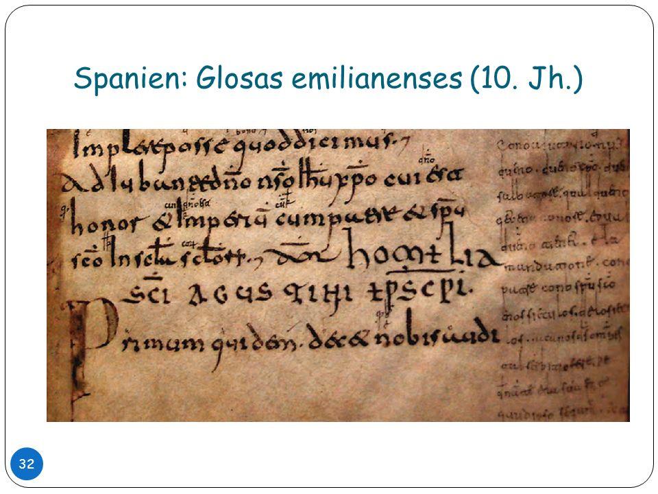 Spanien: Glosas emilianenses (10. Jh.)