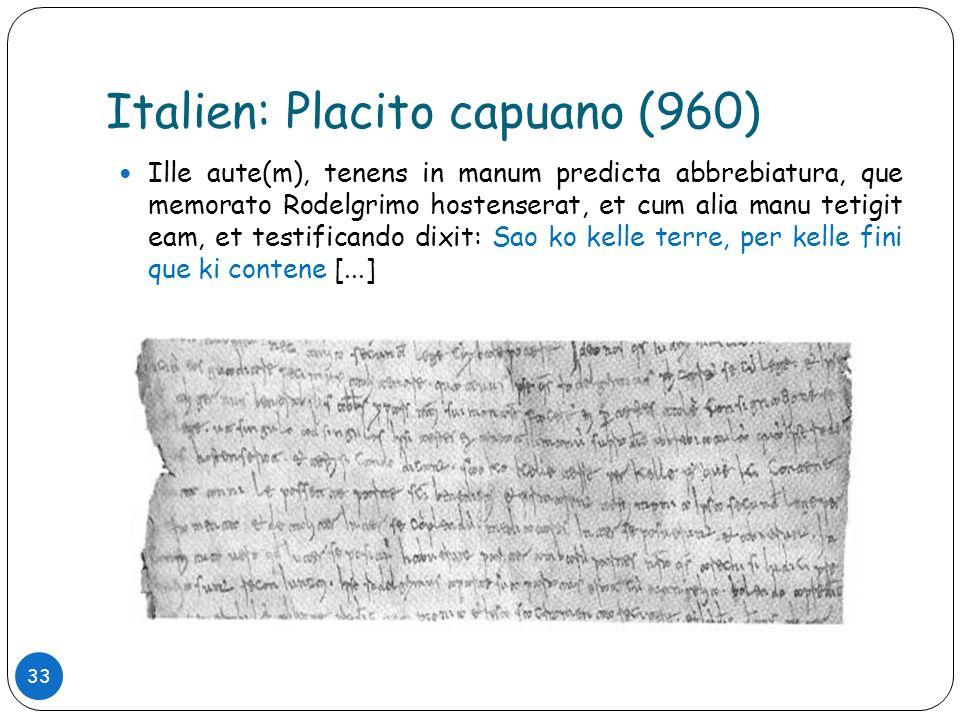 Italien: Placito capuano (960)