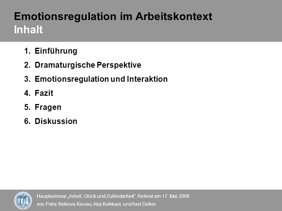 Emotionsregulation im Arbeitskontext Inhalt