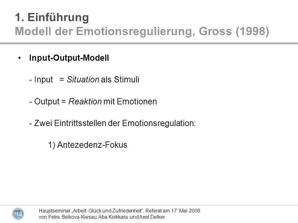 Modell der Emotionsregulierung, Gross (1998)