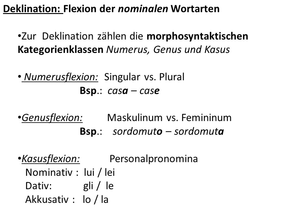 Deklination: Flexion der nominalen Wortarten