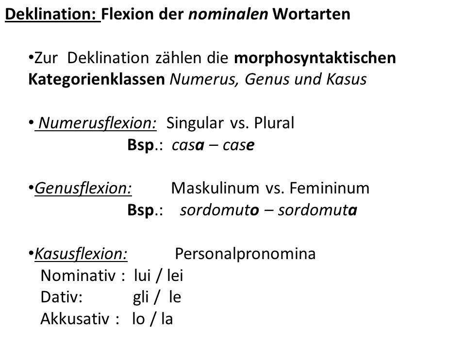 Deklination: Flexion der nominalen Wortarten