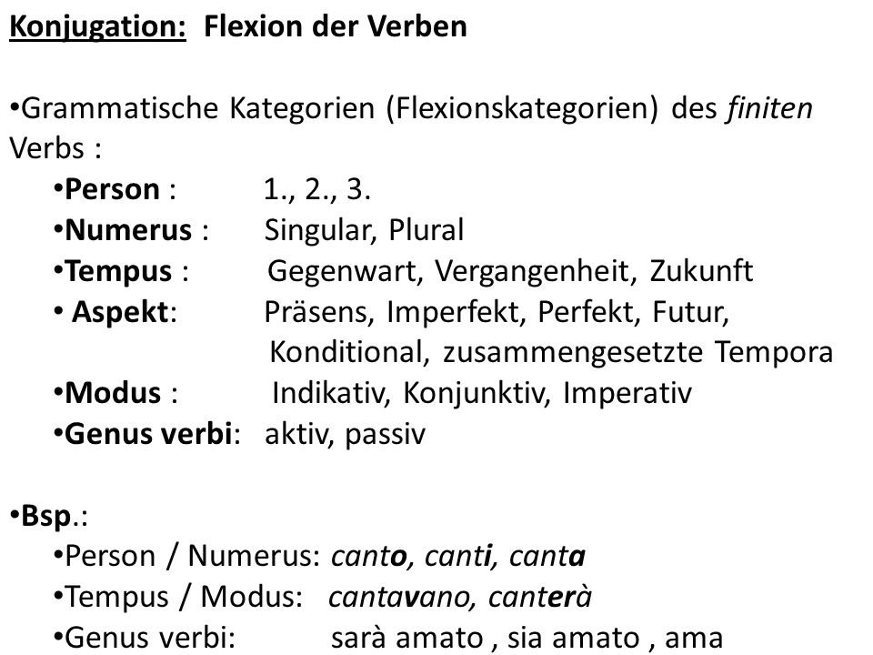 Konjugation: Flexion der Verben