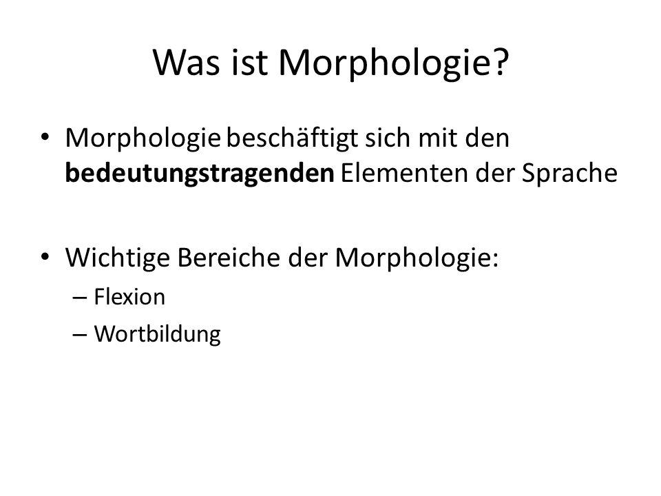 Was ist Morphologie Morphologie beschäftigt sich mit den bedeutungstragenden Elementen der Sprache.