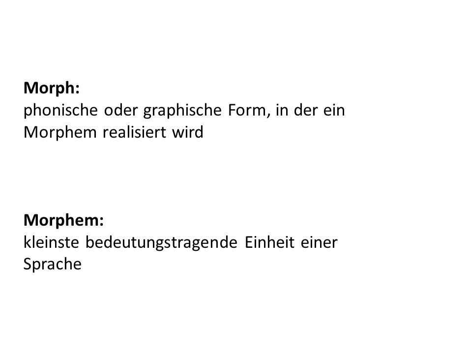 Morph: phonische oder graphische Form, in der ein.
