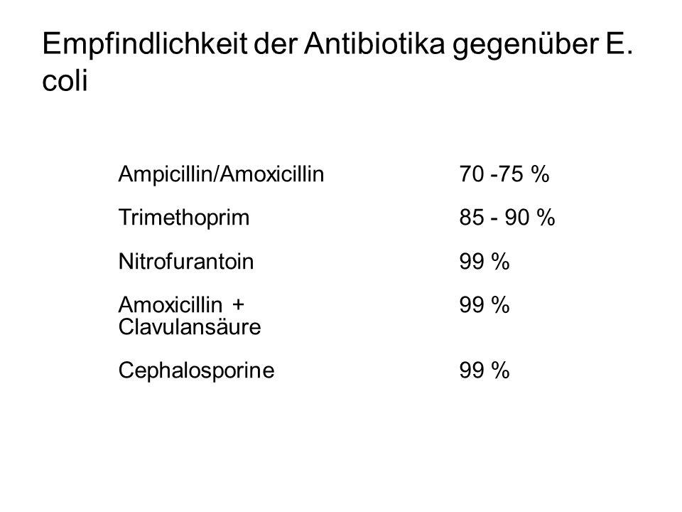 Empfindlichkeit der Antibiotika gegenüber E. coli