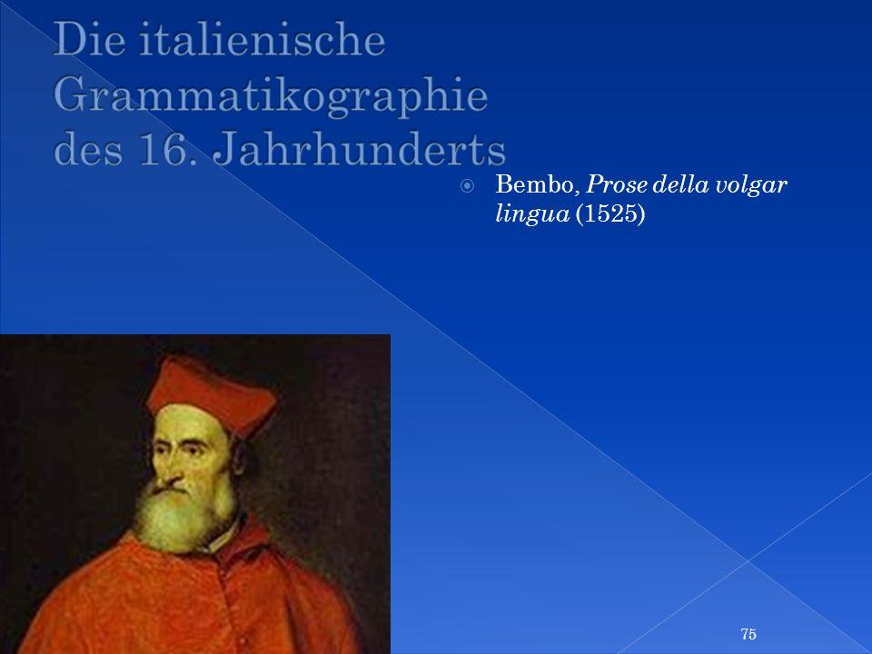 Die italienische Grammatikographie des 16. Jahrhunderts