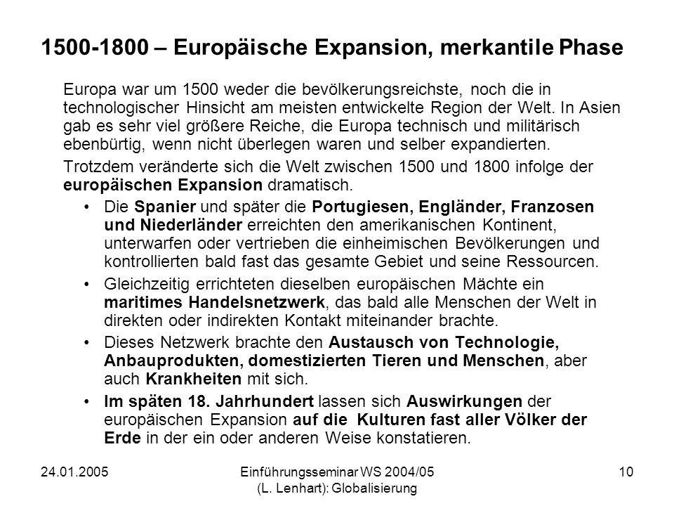 1500-1800 – Europäische Expansion, merkantile Phase
