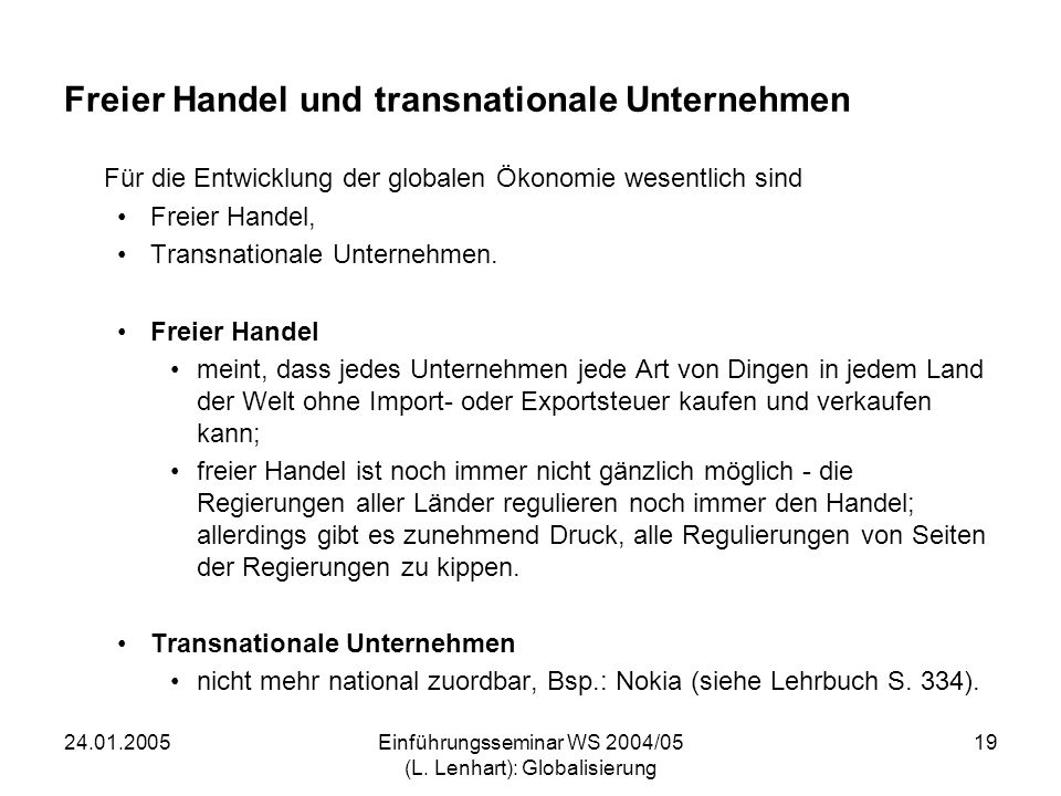 Freier Handel und transnationale Unternehmen