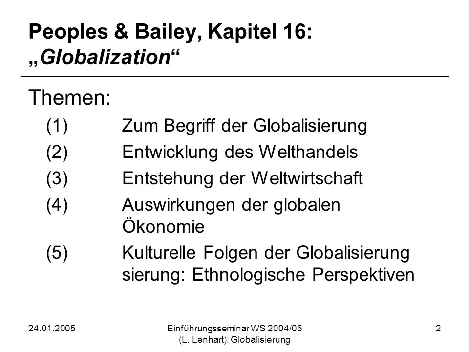 "Peoples & Bailey, Kapitel 16: ""Globalization"