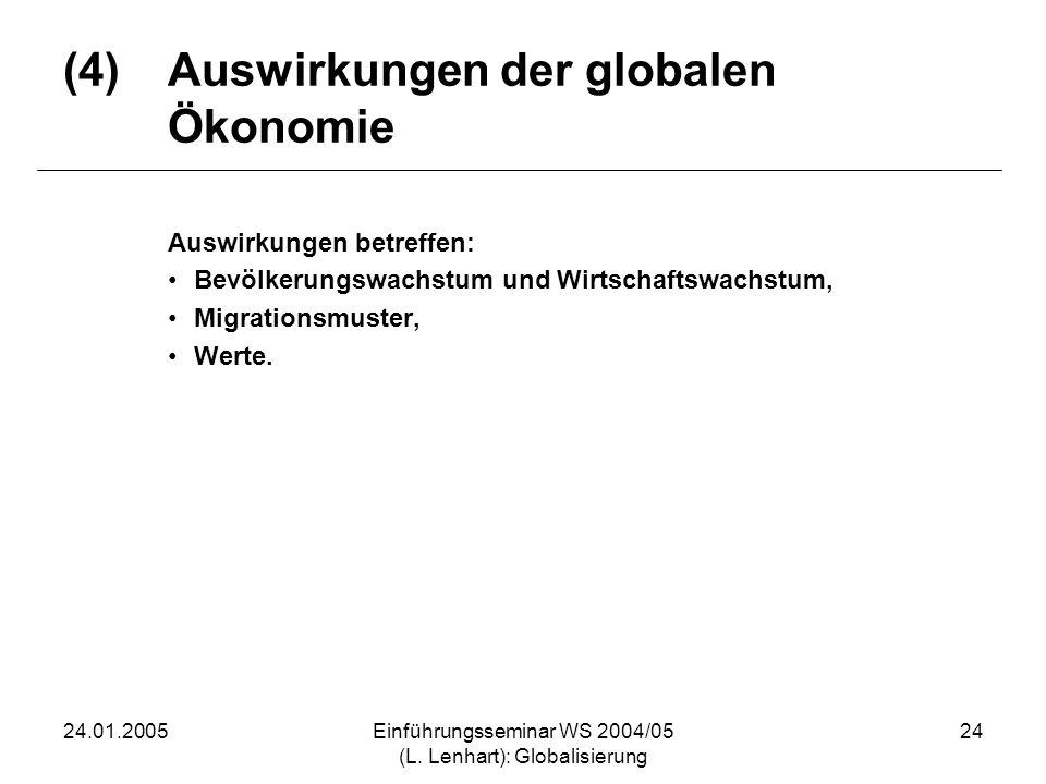 (4) Auswirkungen der globalen Ökonomie
