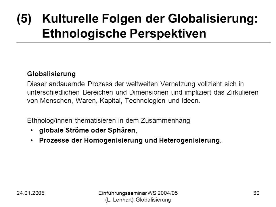 Kulturelle Folgen der Globalisierung: Ethnologische Perspektiven