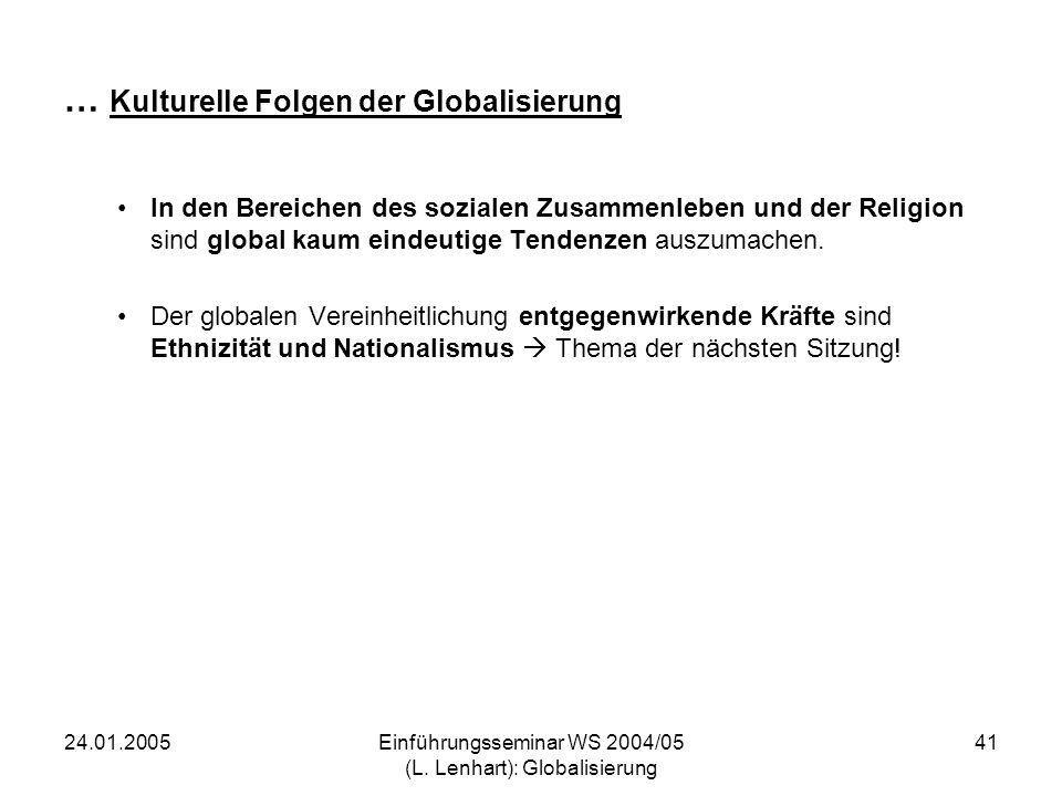 … Kulturelle Folgen der Globalisierung