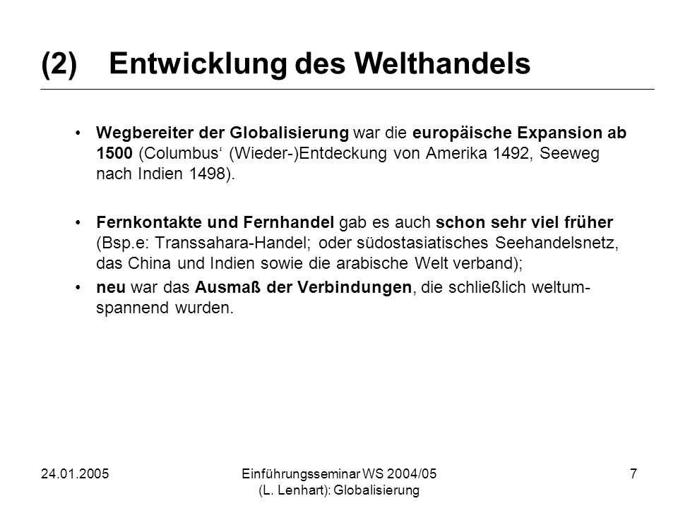 (2) Entwicklung des Welthandels