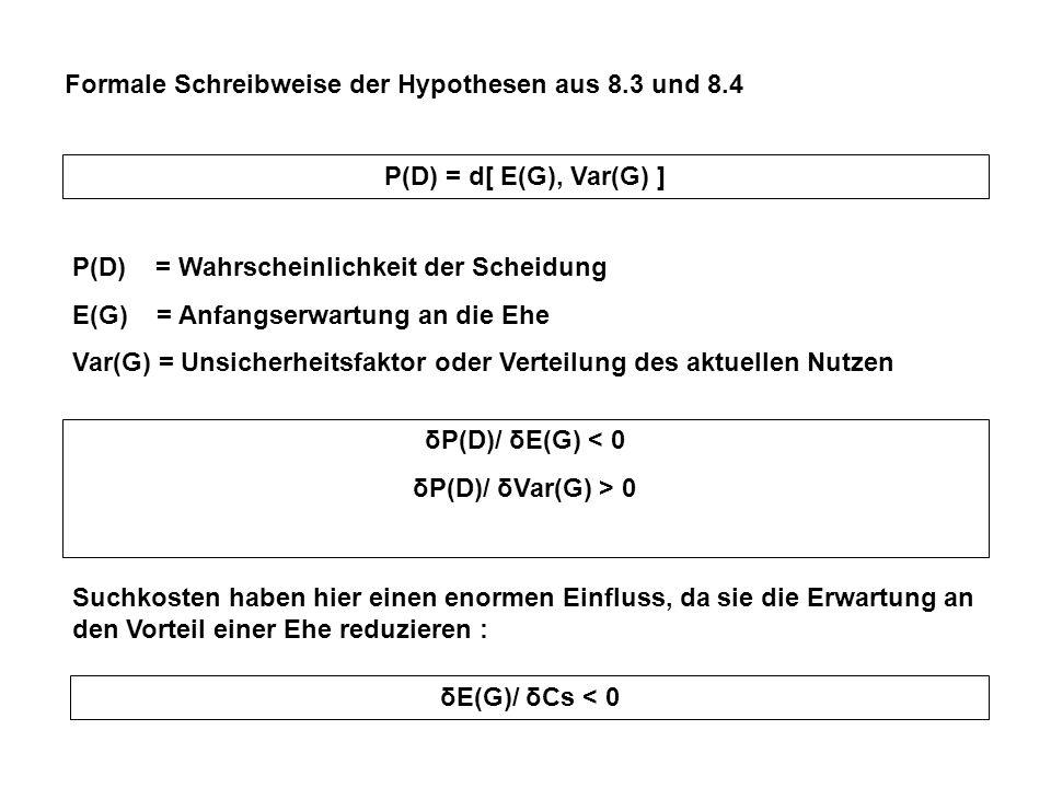 Formale Schreibweise der Hypothesen aus 8.3 und 8.4