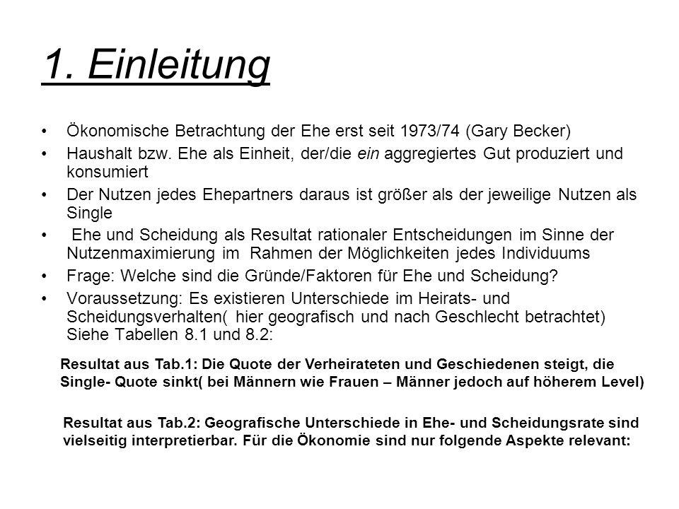 1. Einleitung Ökonomische Betrachtung der Ehe erst seit 1973/74 (Gary Becker)