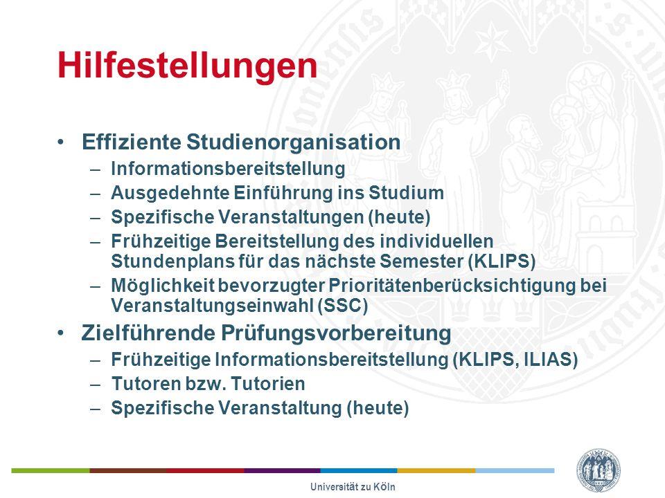 Hilfestellungen Effiziente Studienorganisation