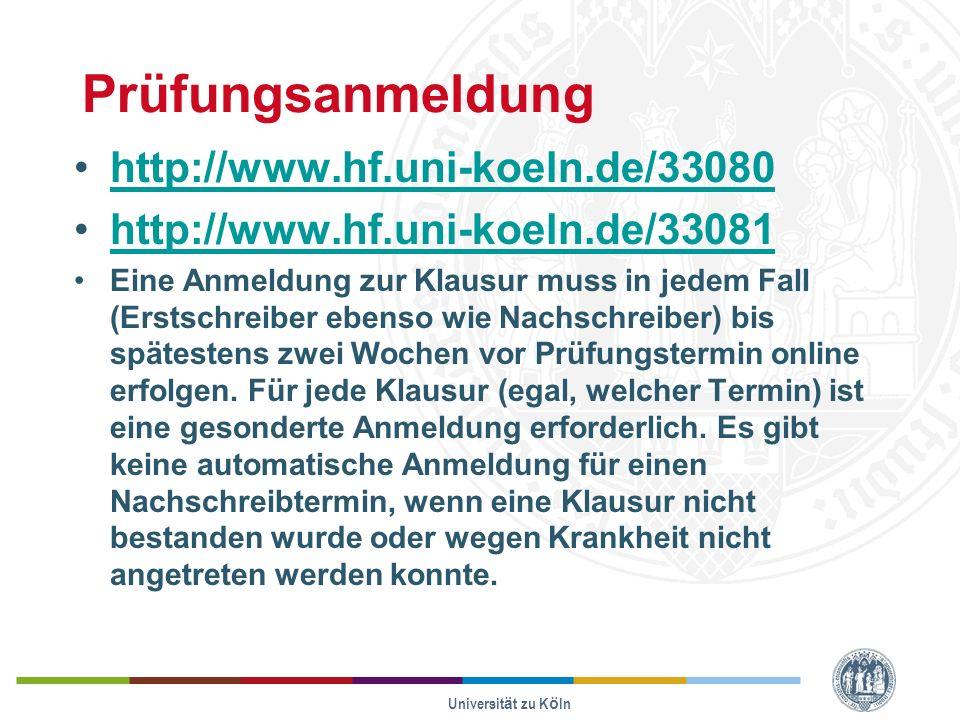 Prüfungsanmeldung http://www.hf.uni-koeln.de/33080