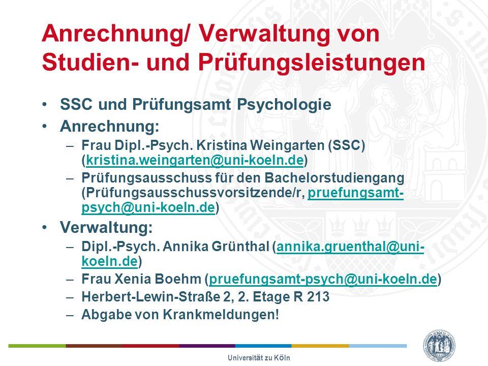 Anrechnung/ Verwaltung von Studien- und Prüfungsleistungen