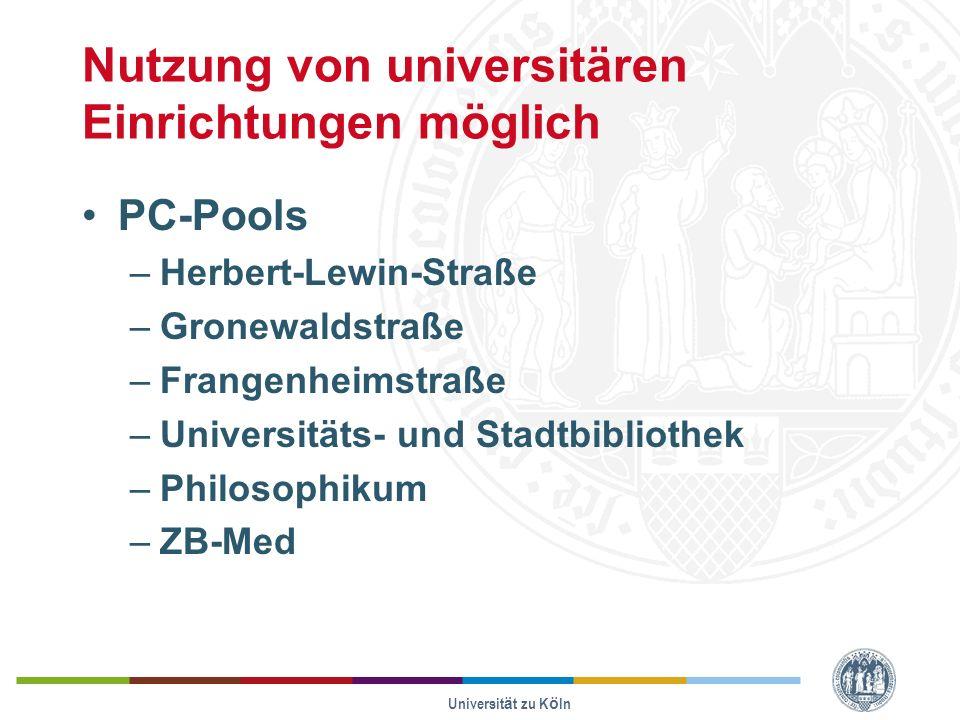 Nutzung von universitären Einrichtungen möglich