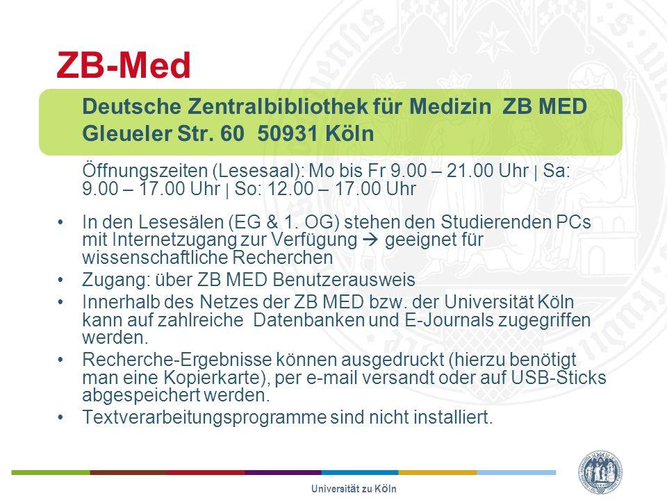 ZB-Med Deutsche Zentralbibliothek für Medizin ZB MED