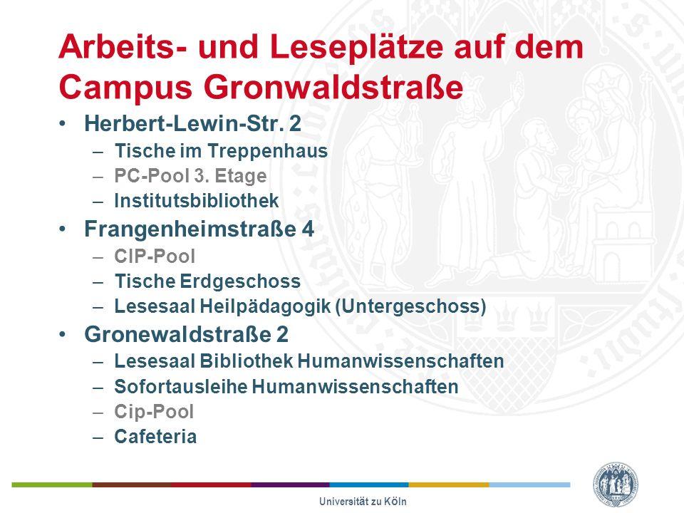 Arbeits- und Leseplätze auf dem Campus Gronwaldstraße