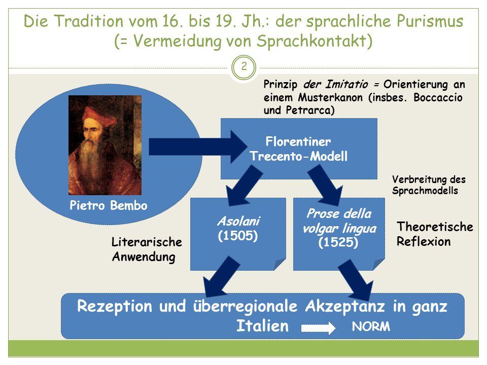 Rezeption und überregionale Akzeptanz in ganz Italien
