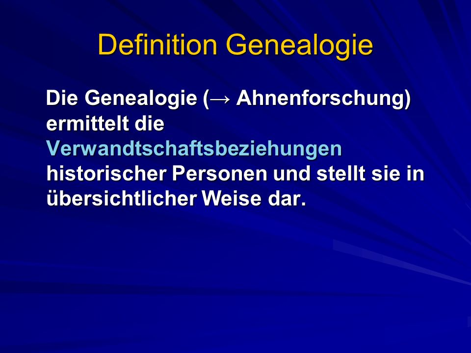 Definition Genealogie