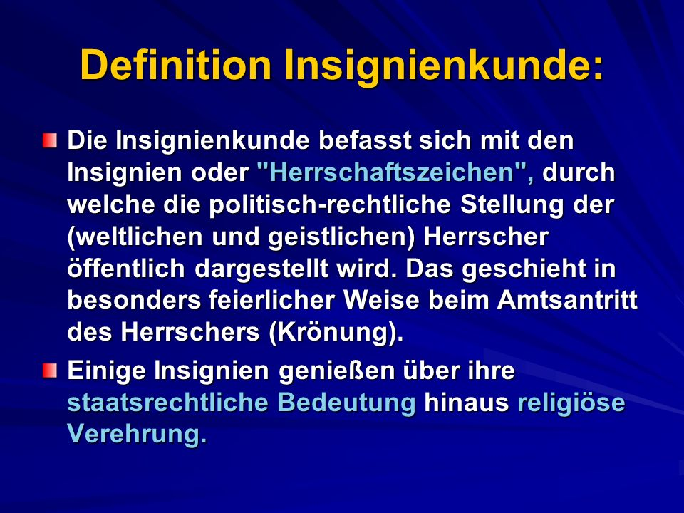 Definition Insignienkunde: