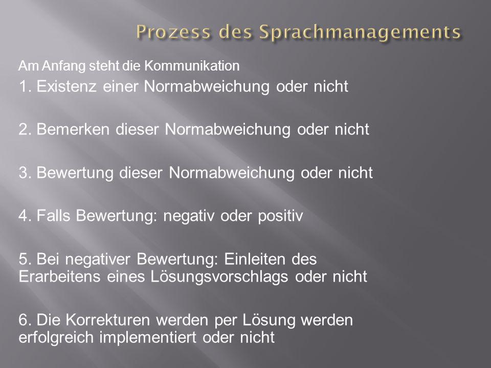 Prozess des Sprachmanagements