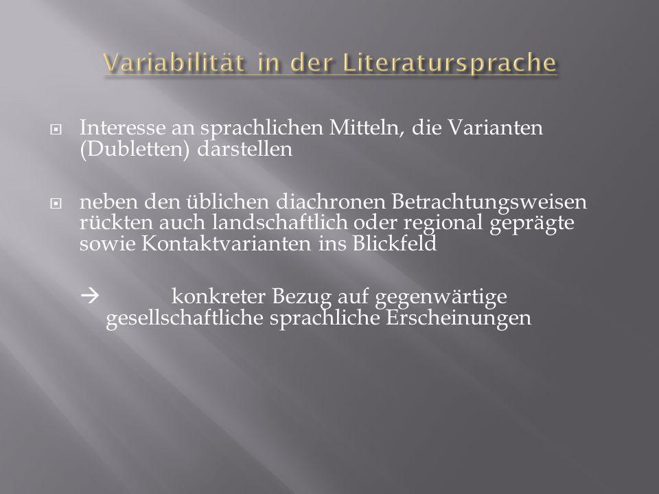 Variabilität in der Literatursprache