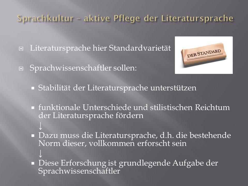 Sprachkultur – aktive Pflege der Literatursprache