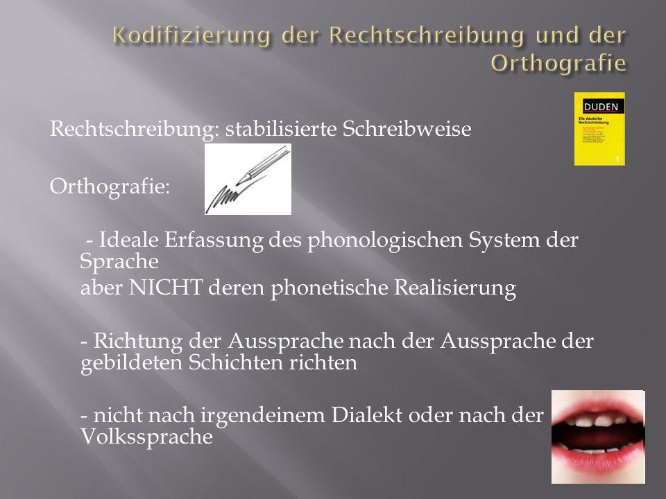 Kodifizierung der Rechtschreibung und der Orthografie
