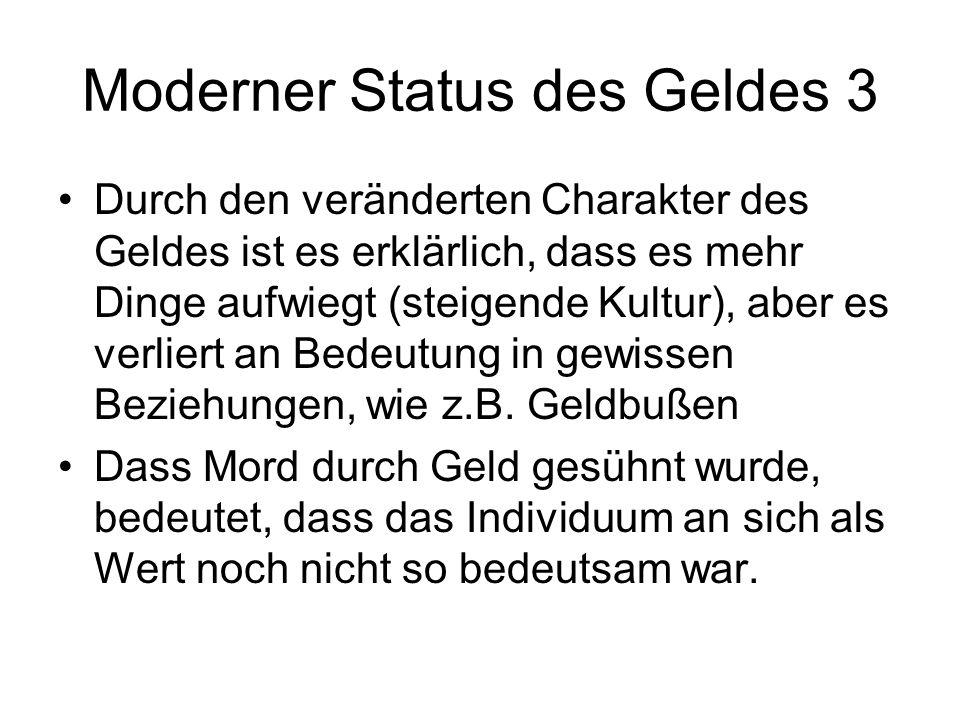 Moderner Status des Geldes 3