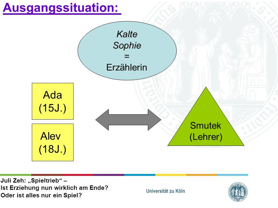 Ausgangssituation: Ada (15J.) Alev (18J.) Kalte Sophie = Erzählerin