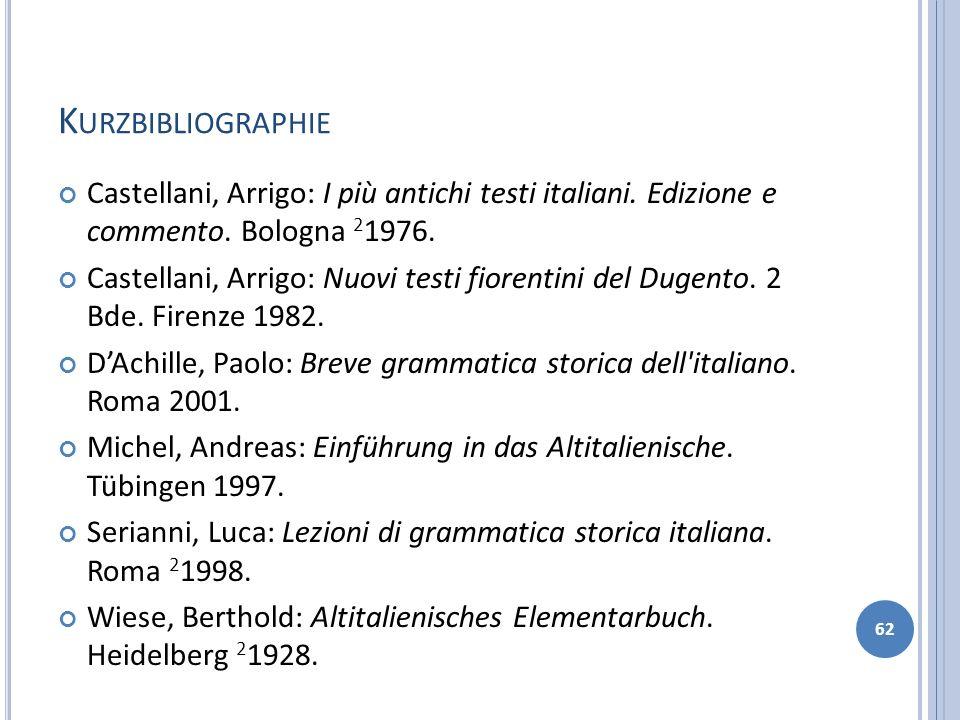 Kurzbibliographie Castellani, Arrigo: I più antichi testi italiani. Edizione e commento. Bologna 21976.