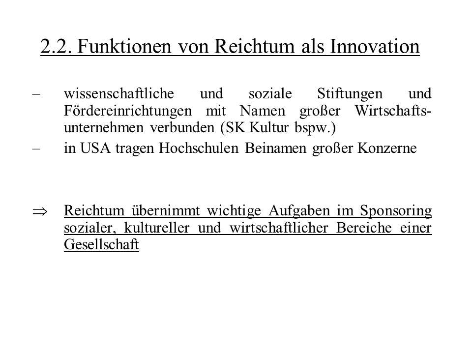 2.2. Funktionen von Reichtum als Innovation