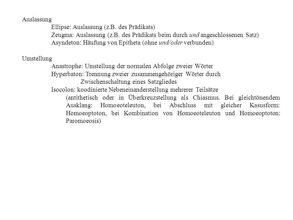 Auslassung Ellipse: Auslassung (z.B. des Prädikats) Zeugma: Auslassung (z.B. des Prädikats beim durch und angeschlossenen Satz)