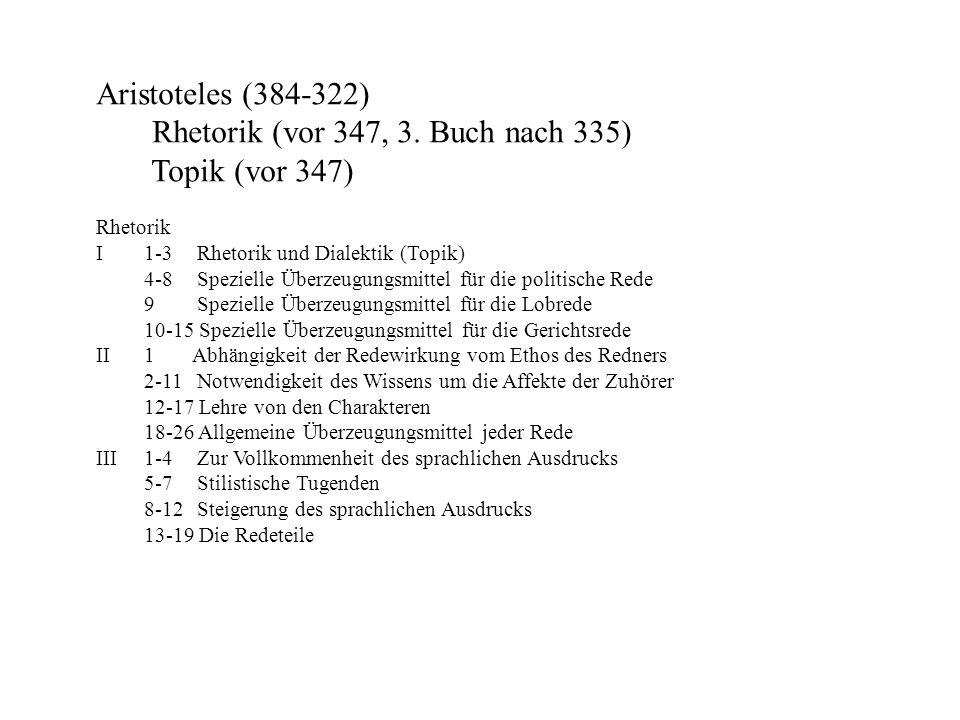 Rhetorik (vor 347, 3. Buch nach 335) Topik (vor 347)