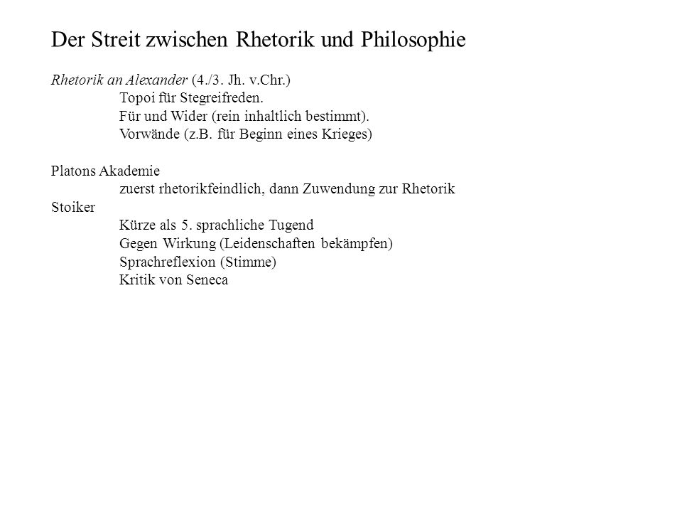 Der Streit zwischen Rhetorik und Philosophie